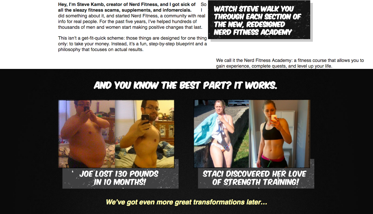Nerd fitness using before/after testimonials to build social proof