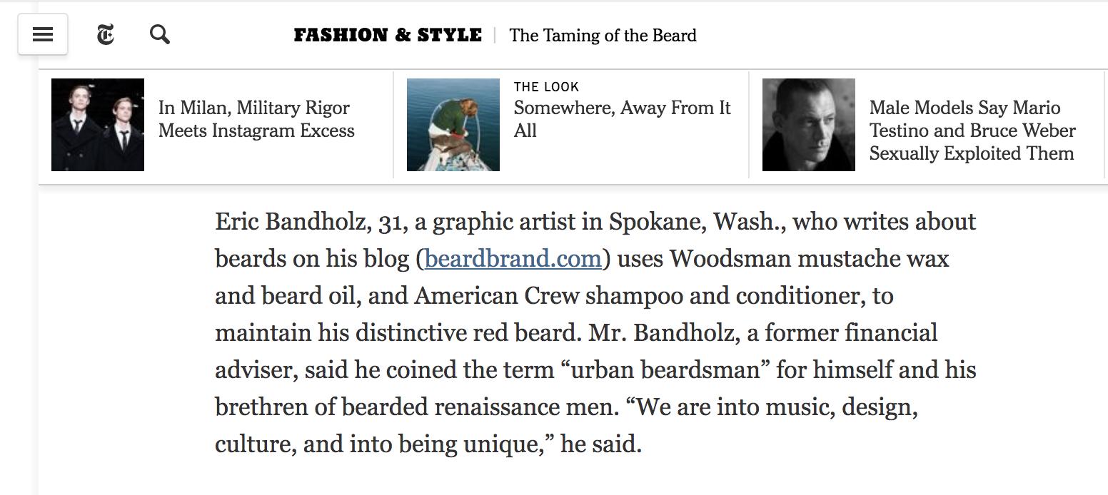 Screenshot showing a content piece on beardbrand