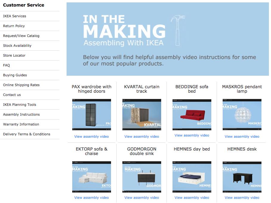 Screenshot showing a page on ikea.com