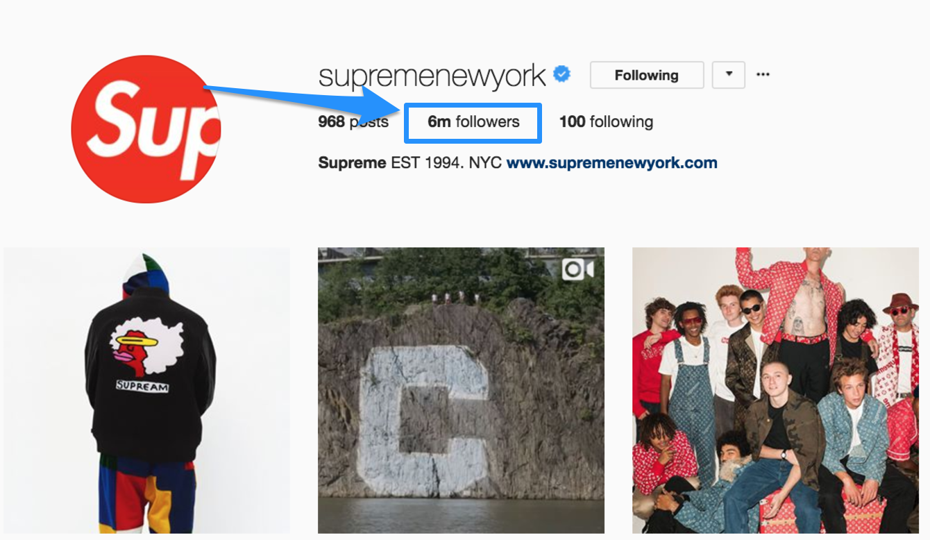 Screenshot showing the amount of followers Supreme has on Instagram