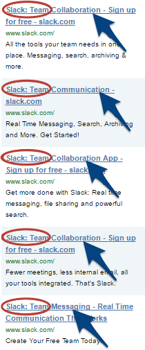 Screenshot showing different ads for Slack