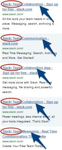 Screenshot showing different ads for Slack
