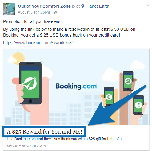 Screenshot showing a Facebook ad by booking.com
