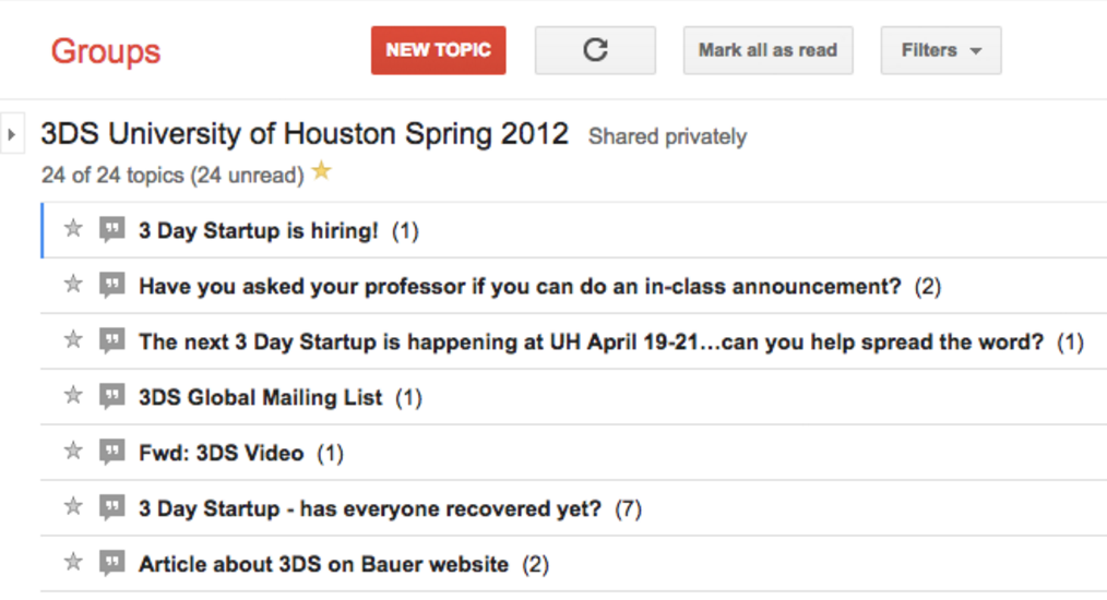 Screenshot showing a University of Houston Google Group