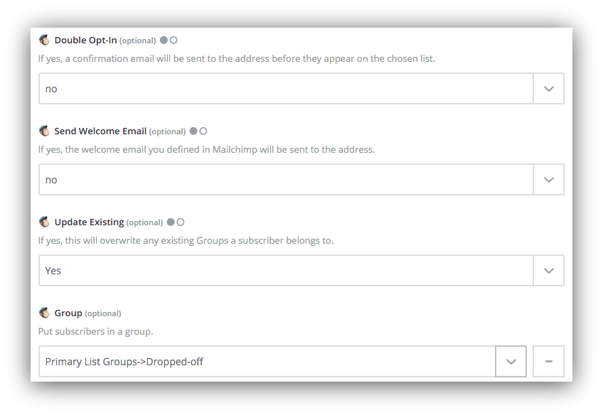 Screenshot showing options for signups on the mailchimp dashboard