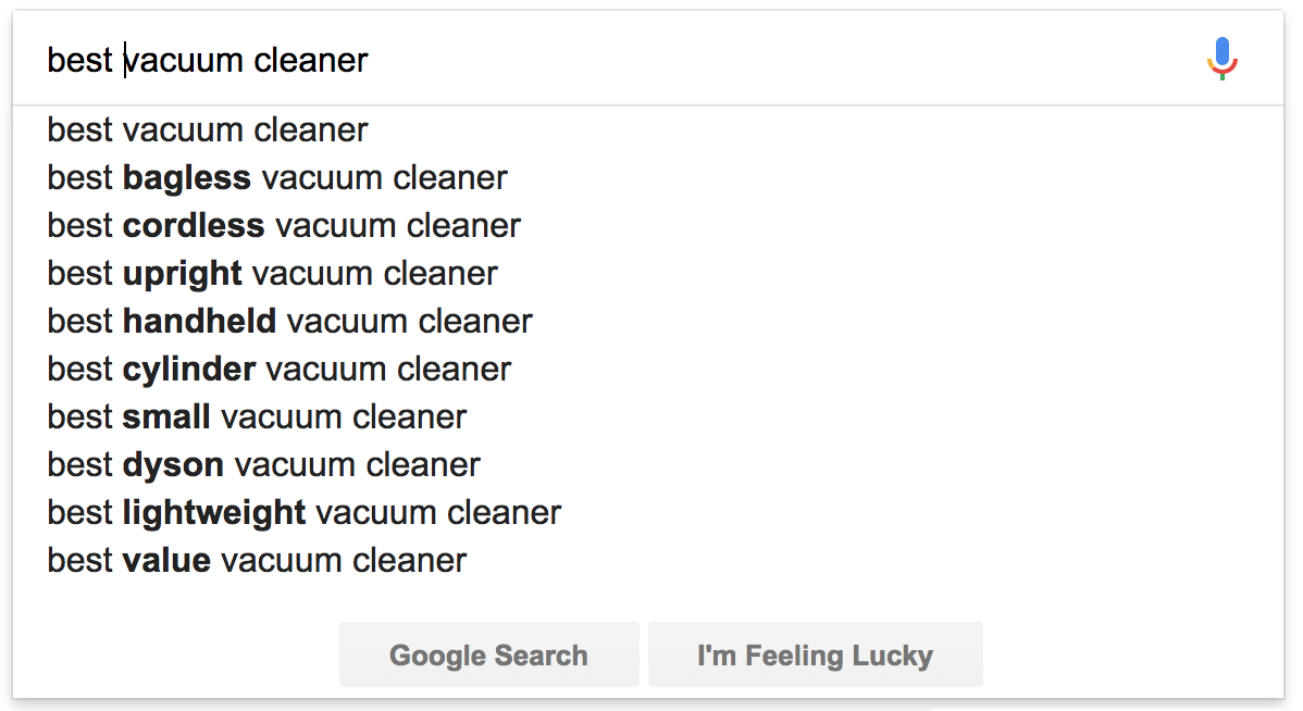 Screenshot showing google search suggestions
