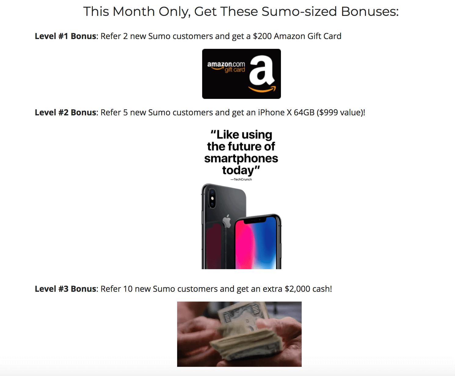 Screenshot showing reward bonuses for a certain month