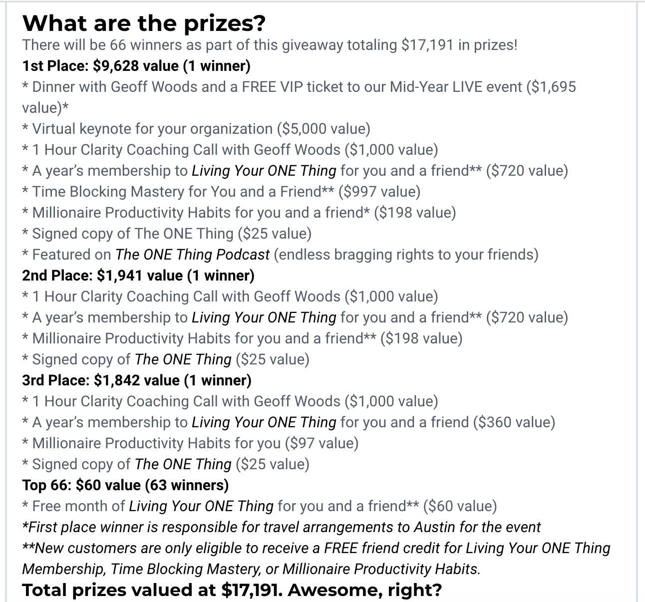 Screenshot showing prizes for a sweepstakes