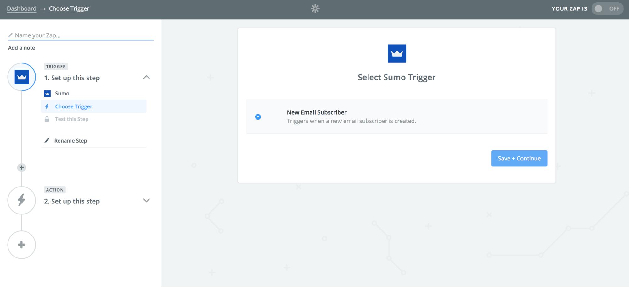 Screenshot showing Sumo selection on Zapier