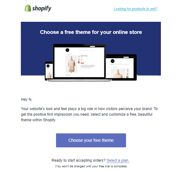 "Screenshot showing the ""select a theme"" CTA on shopify"