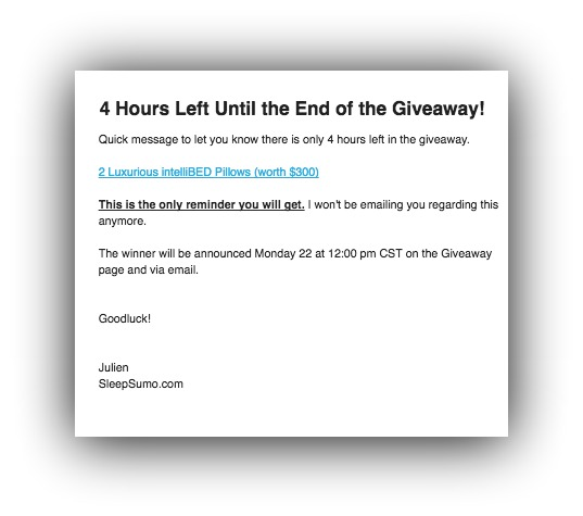 Screenshot of an email, telling people that there are only 4 hours left for the giveaway