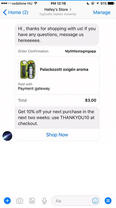 Screenshot of a messenger chatbot outreach message