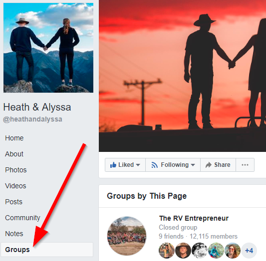 Screenshot showing a Facebook page