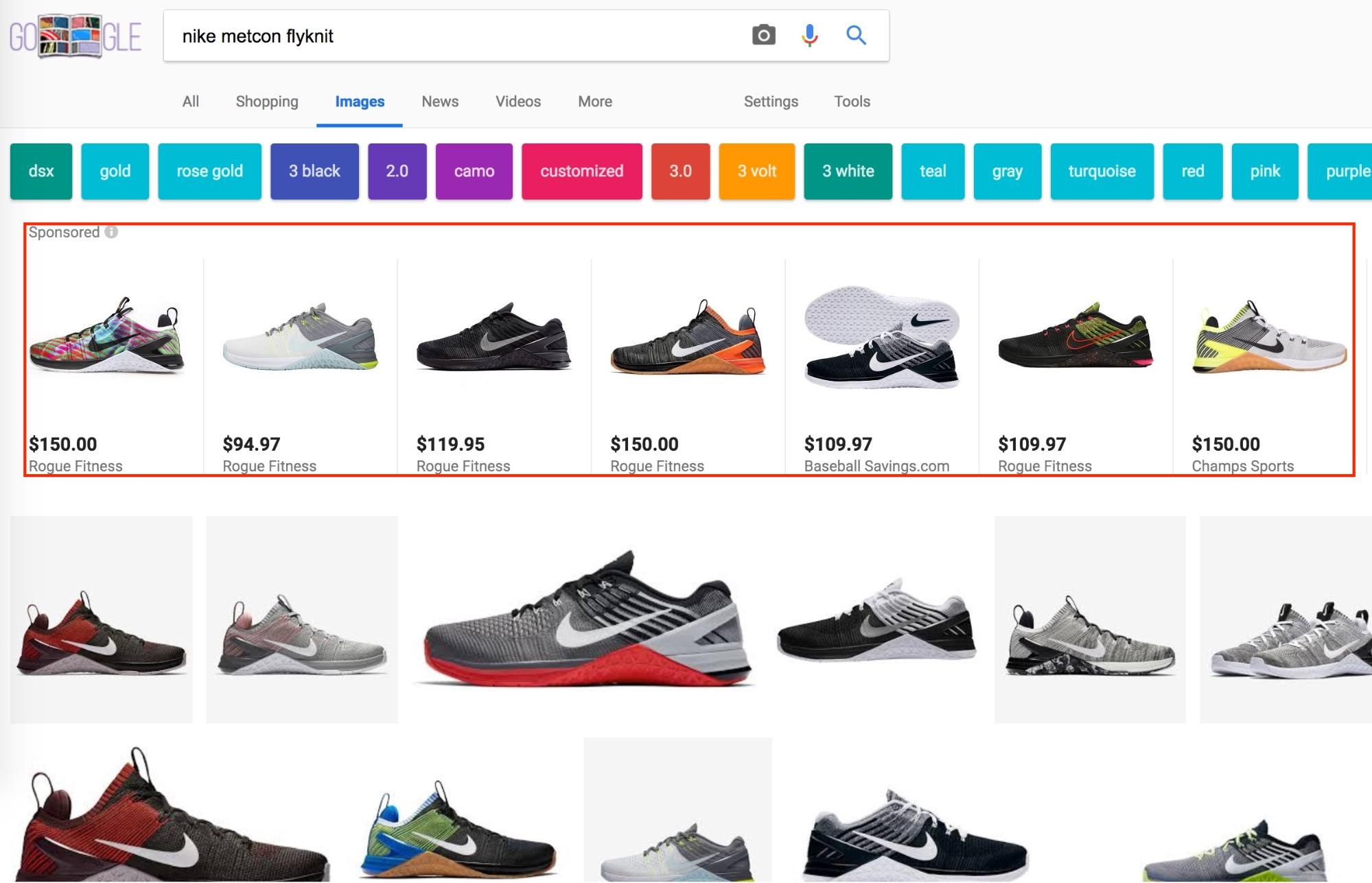 Screenshot showing google image search results