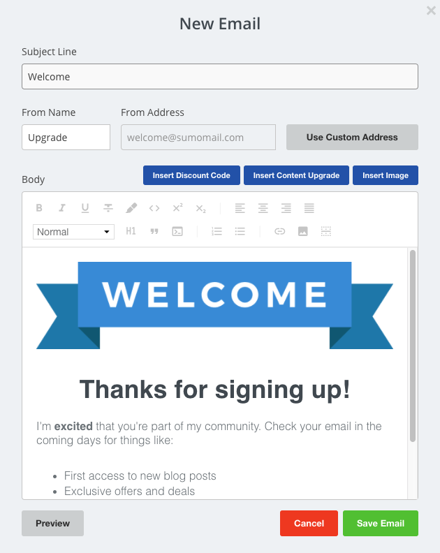 Screenshot showing Sumo dashboard new email page