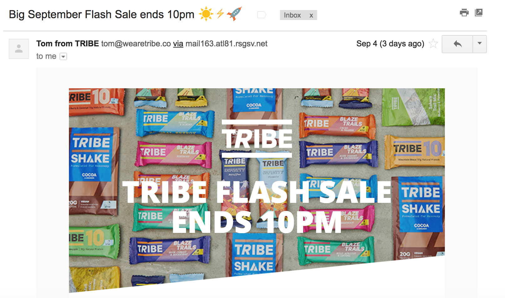 TRIBE email subject example