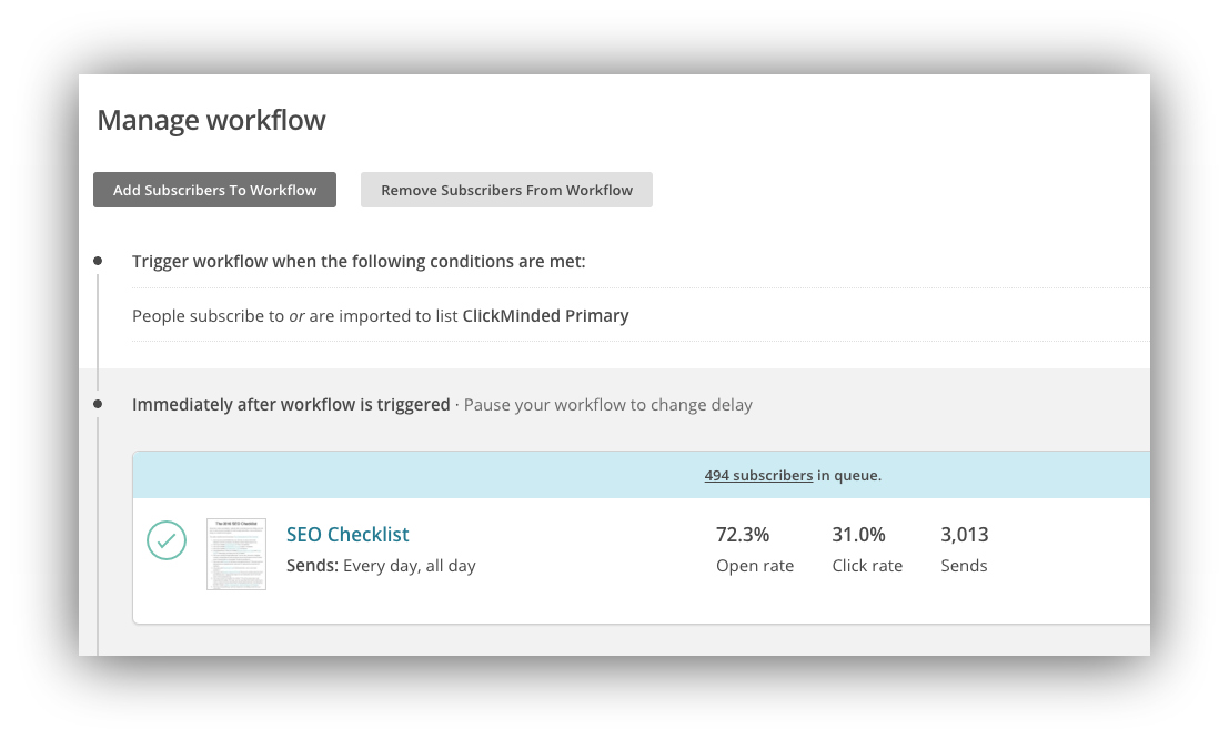 Screenshot of the manage workflow menu on Mailchimp