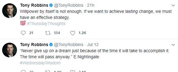 Screenshot of two twitter posts by Tony Robbins