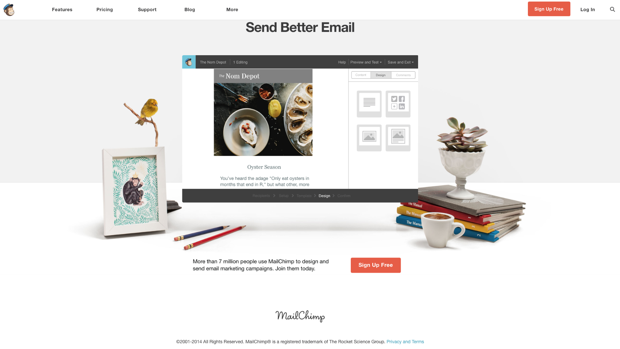 Screenshot showing copy on the mailchimp site