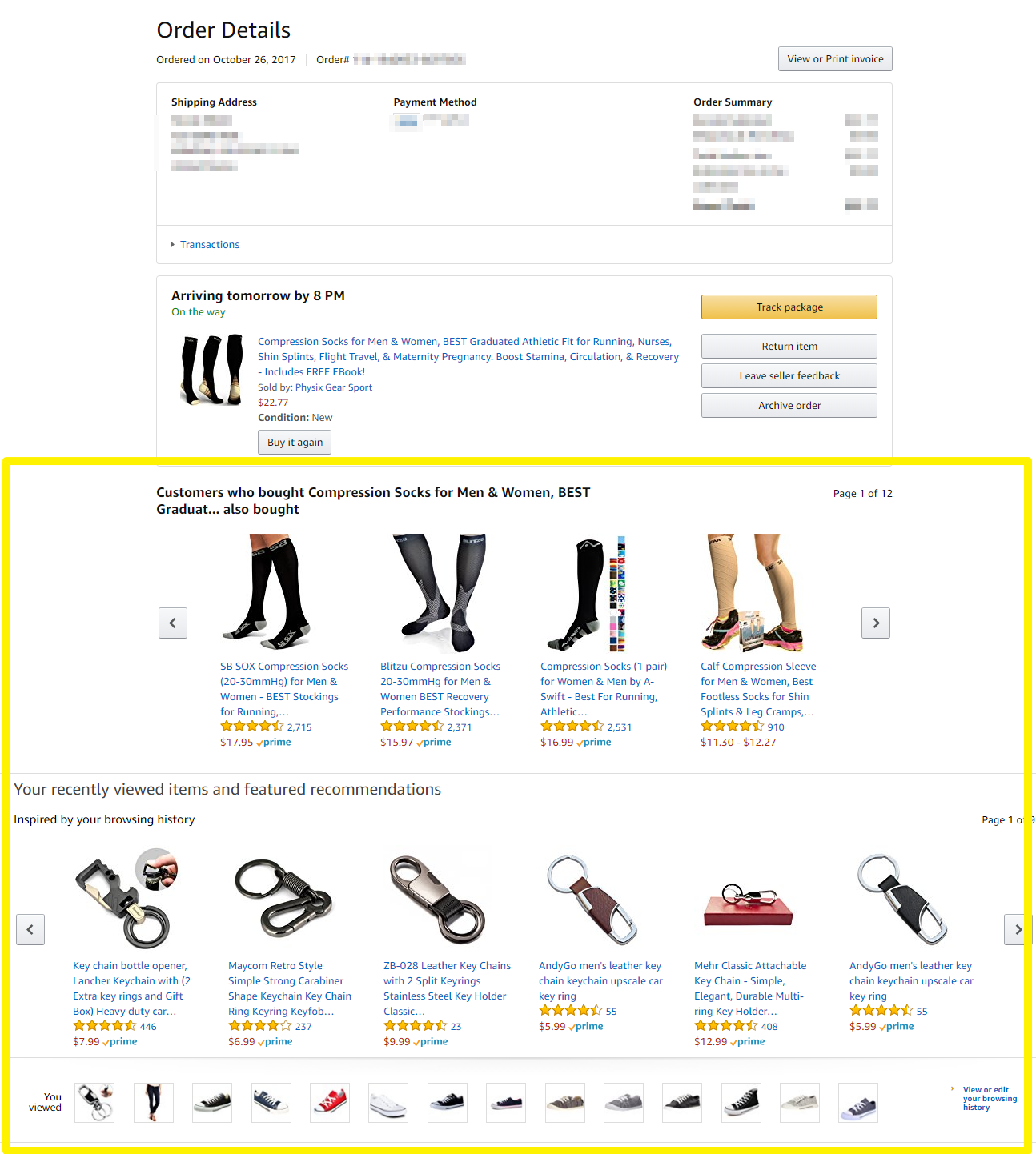 Screenshot showing recommended products on an amazon product page