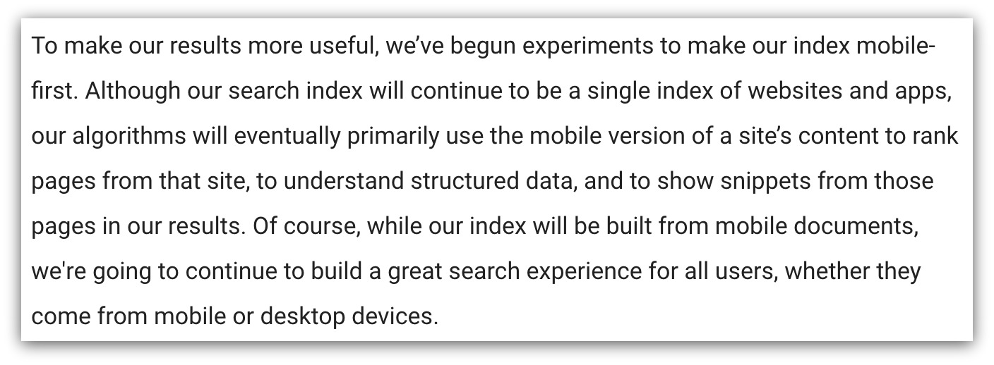 Google Explanation Mobile Index First