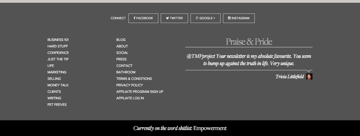The Middle Finger Project showing a testimonial on their footer