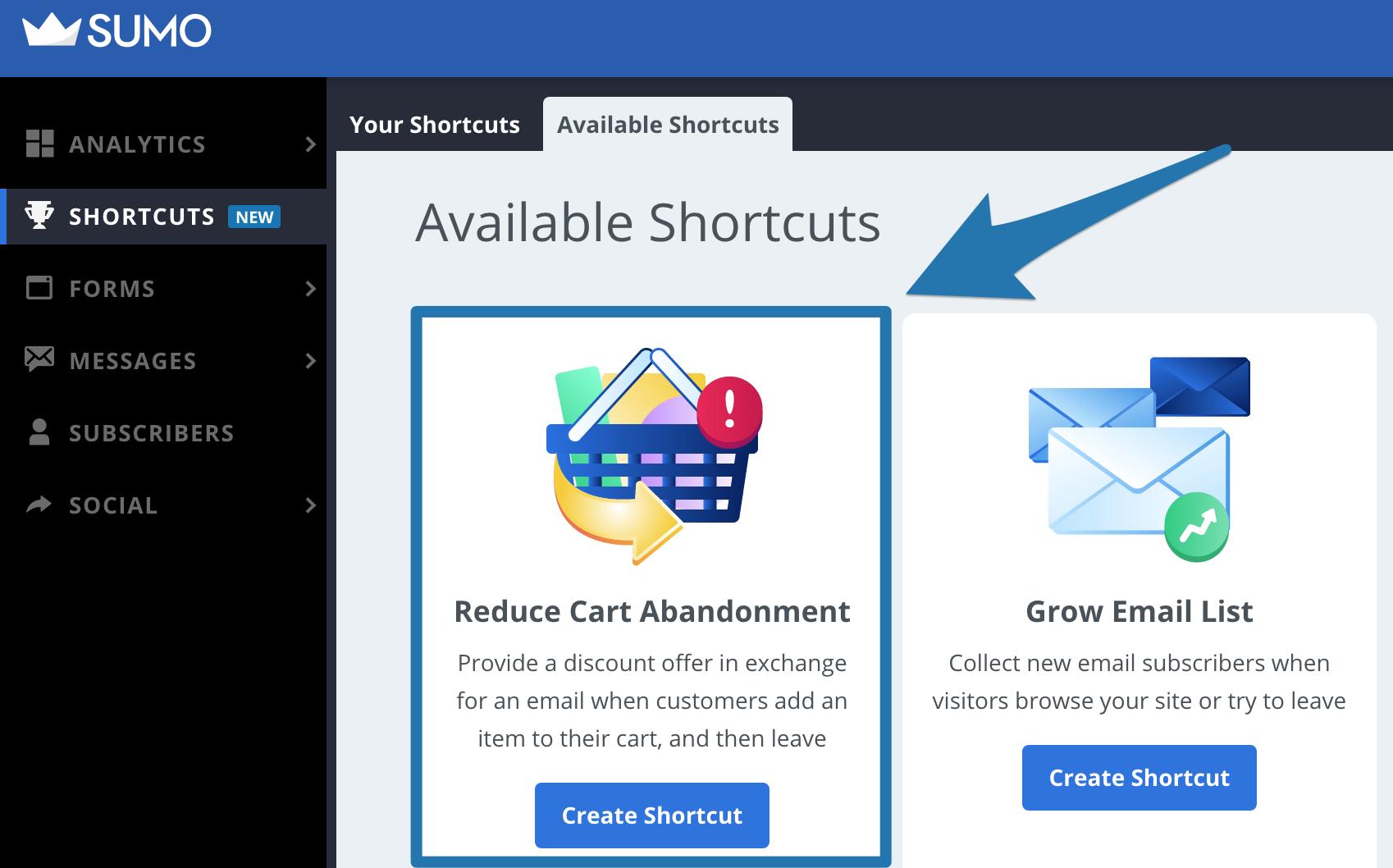 Screenshot of the Sumo Shortcuts dashboard