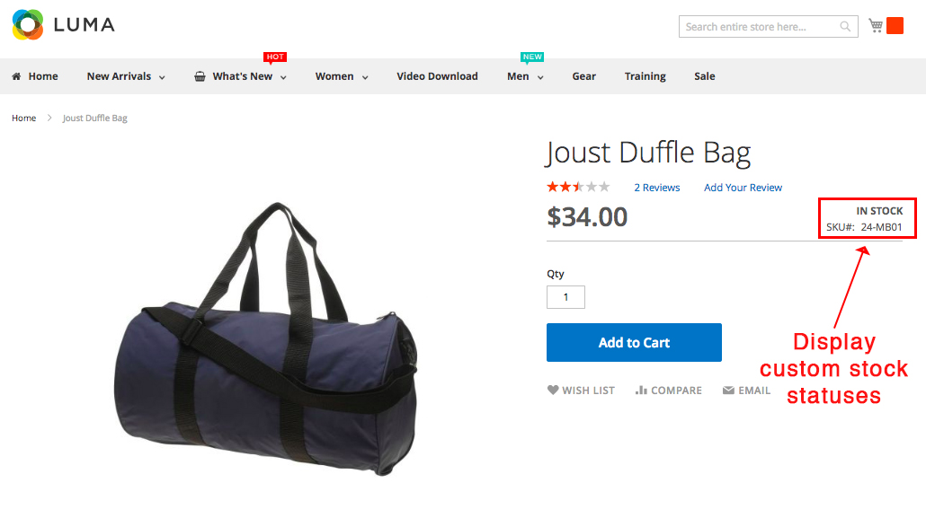 Screenshot showing a product page for a duffel bag