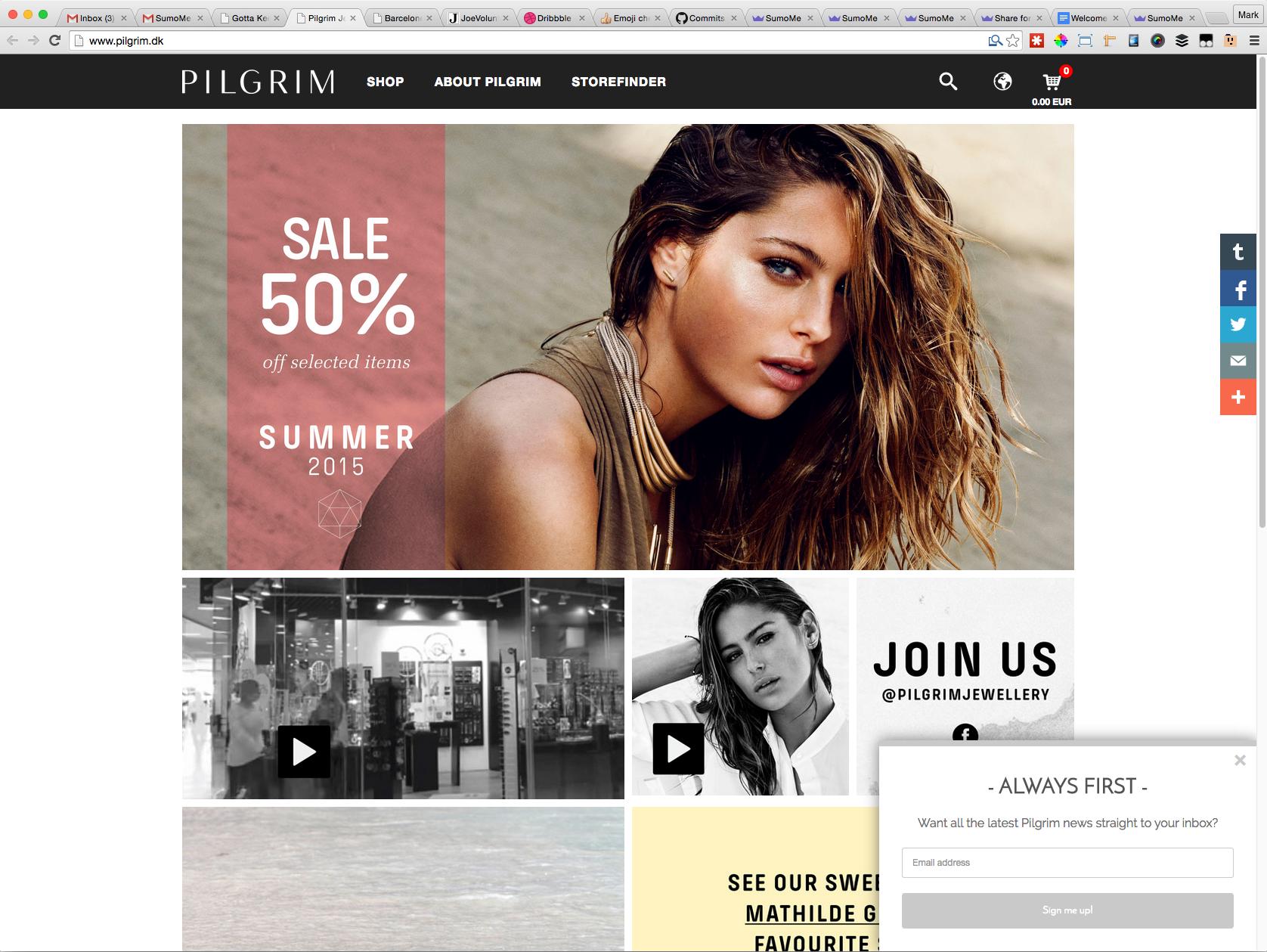 Screenshot of an ecommerce website