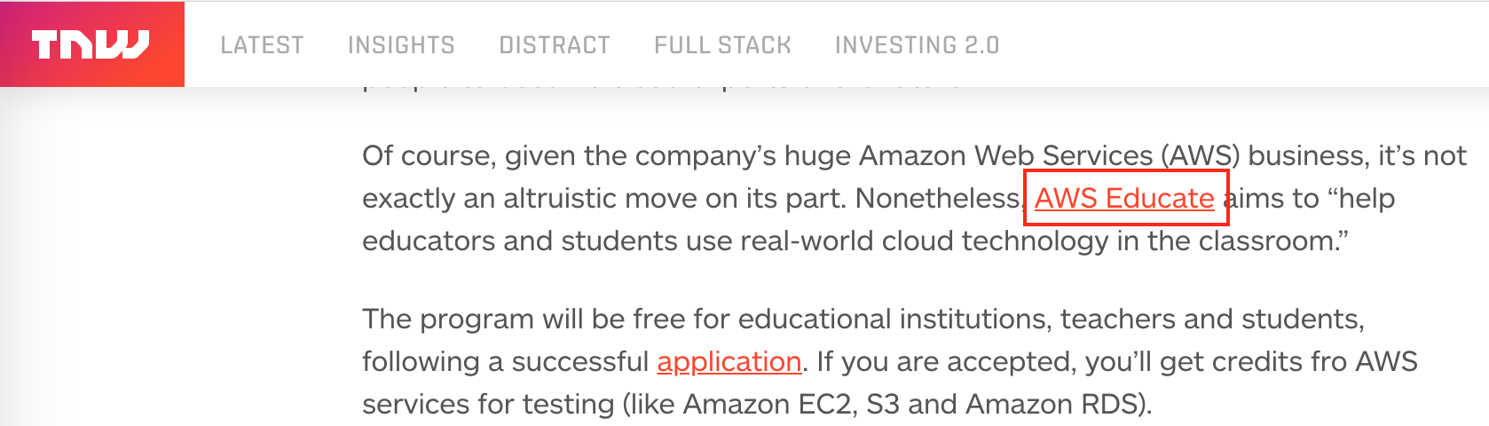 Screenshot showing a post about AWS Educate