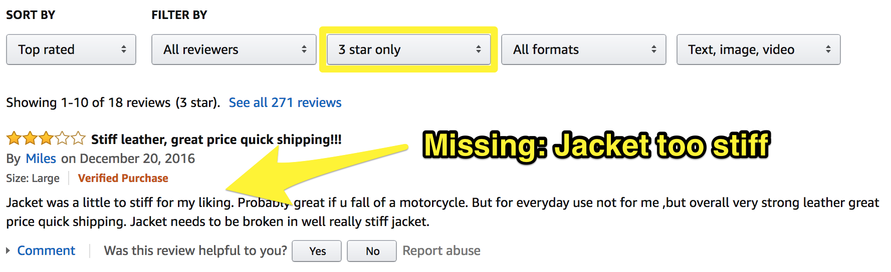 Screenshot showing an amazon review