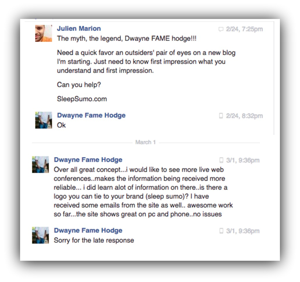 Screenshot of a facebook message, showing how you can utilize your network when creating a new product or blog
