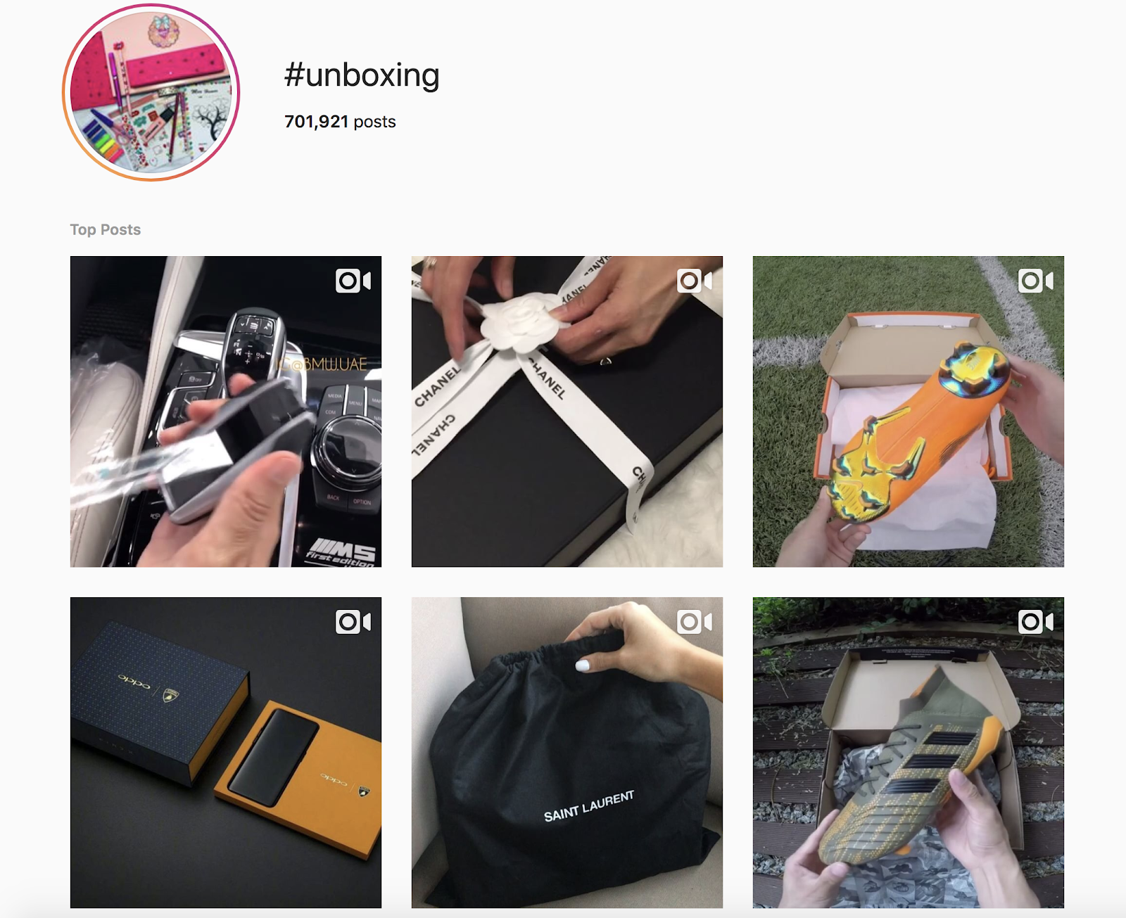 Screenshot showing an Instagram hashtag results