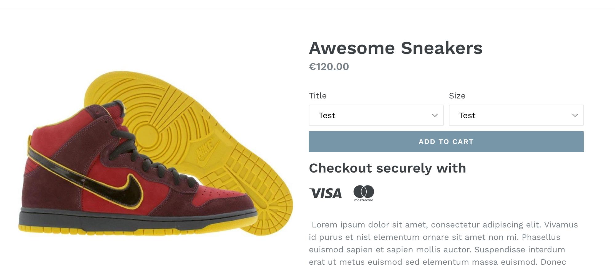 Screenshot showing the visa/mastercard logos under a product