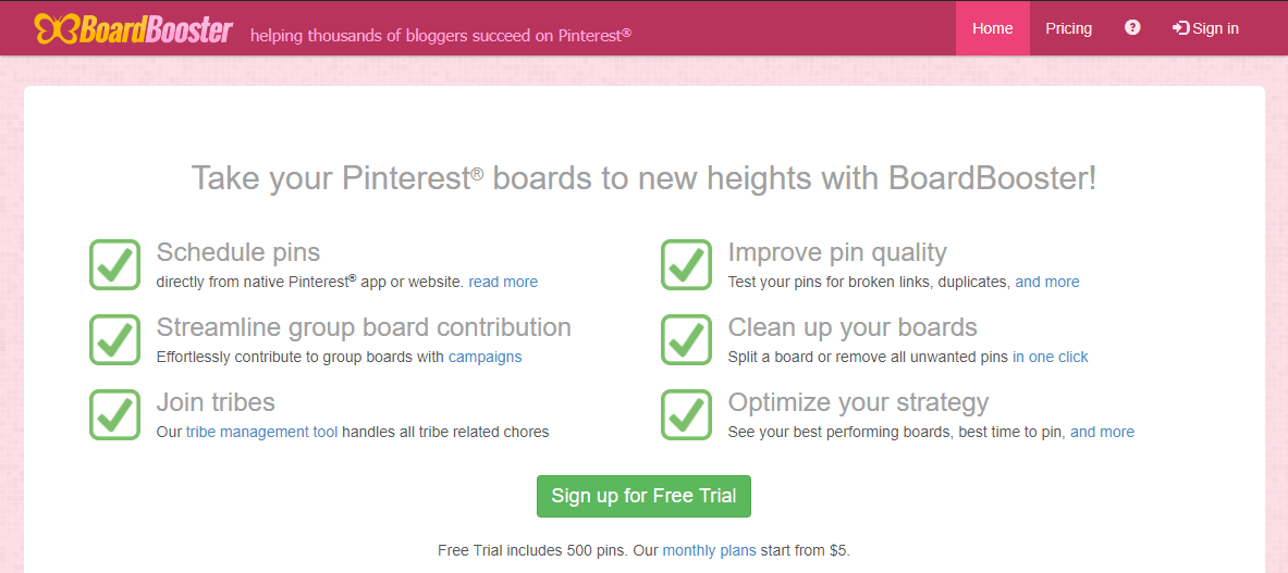 Screenshot showing boardbooster settings