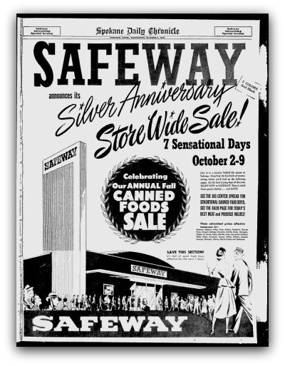 safeway canned foods sale 1952