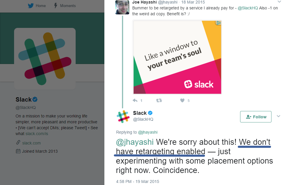 Screenshot of a Twitter post by Slack about how Slack doesn