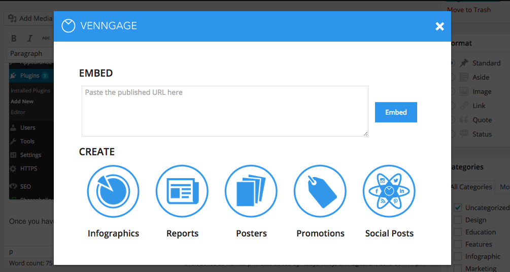 Screenshot of Venngage, a wordpress plugin to increase engagements