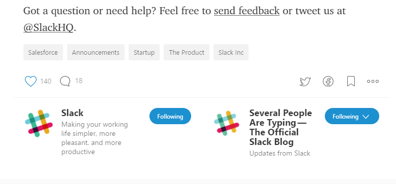 Screenshot showing a CTA on a Slack article about contacting them