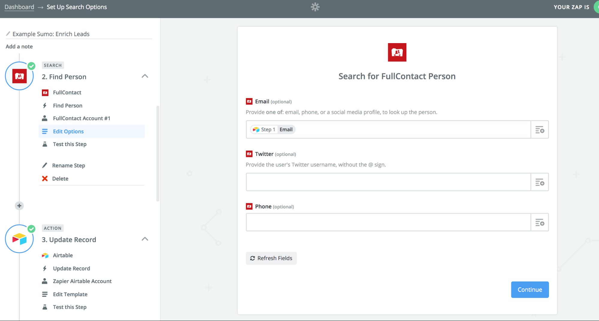 Screenshot showing a zap