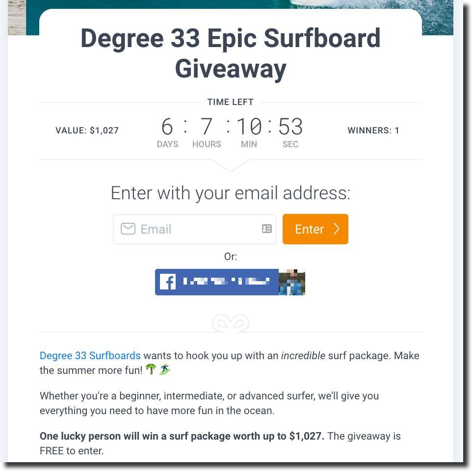 Screenshot showing a sweepstakes