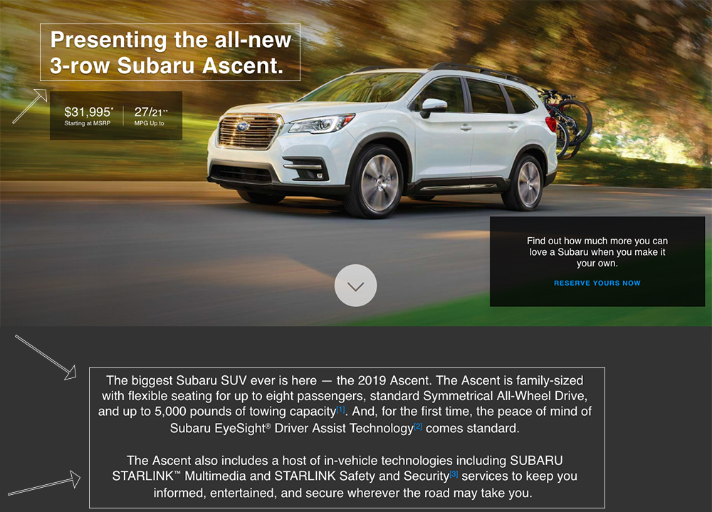 Screenshot showing copy for a car