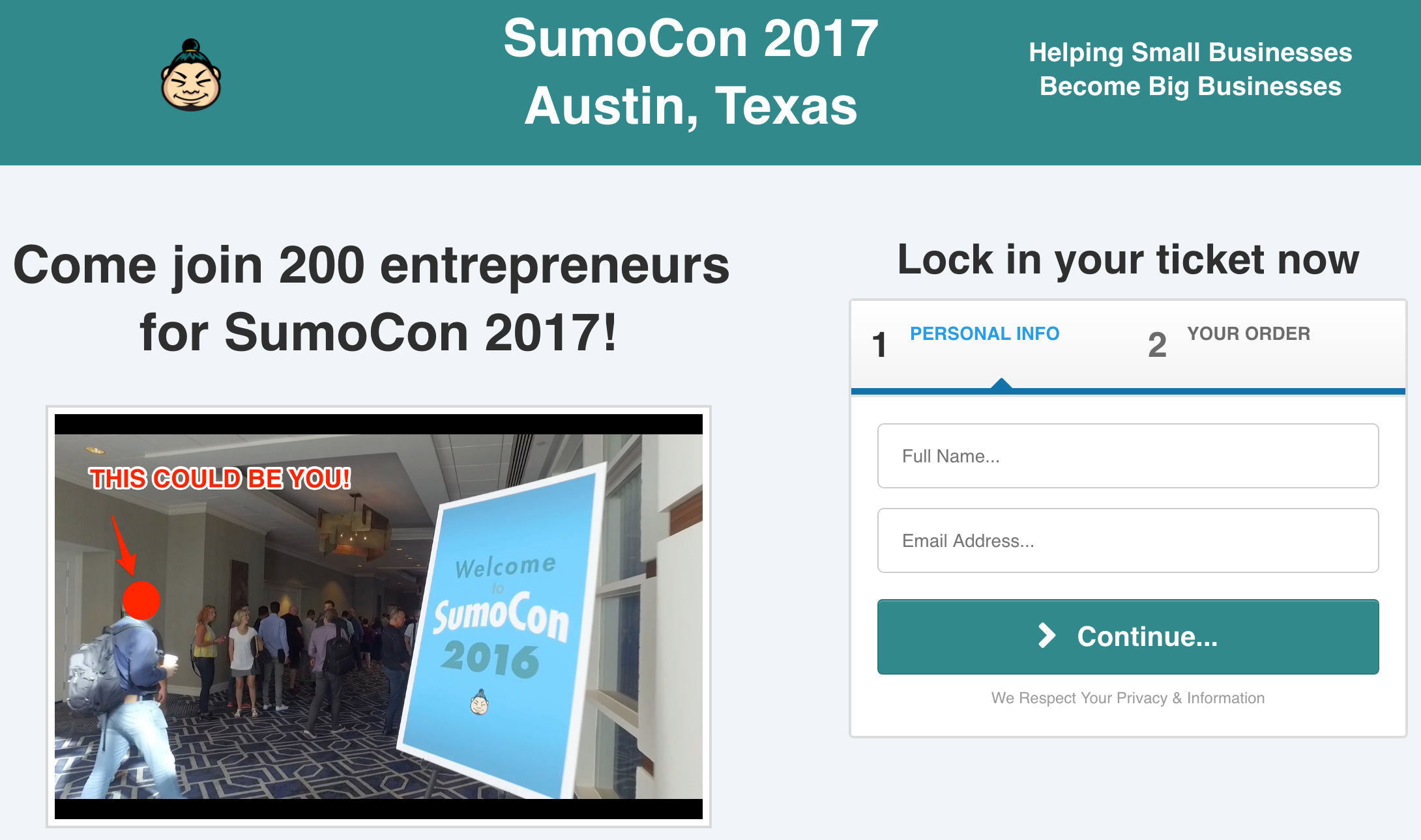 Screenshot showing a landing page for SumoCon 2017