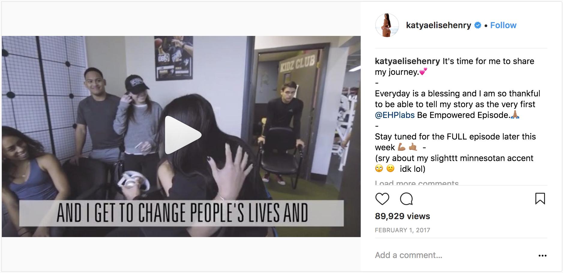 Screenshot showing an instagram post
