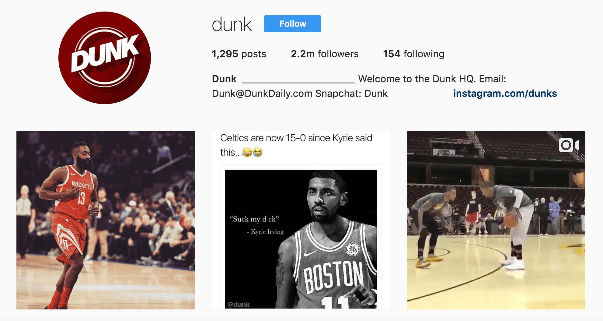 Screenshot showing dunk