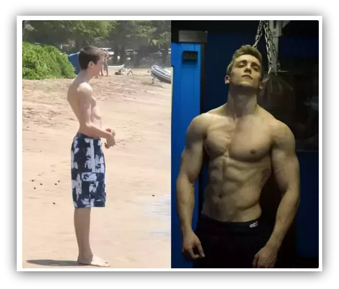 A before-after progress photo showing a man