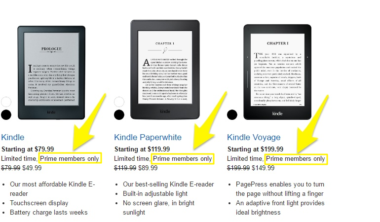 Screenshot showing different models of kindle