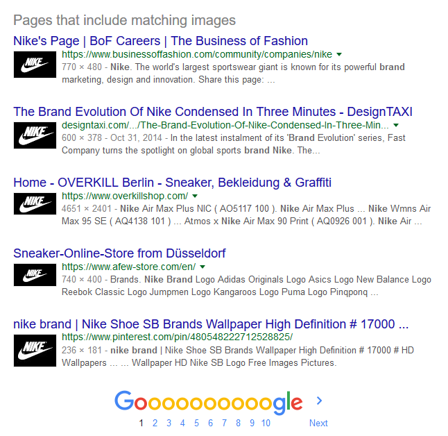 Screenshot showing image search results for Nike