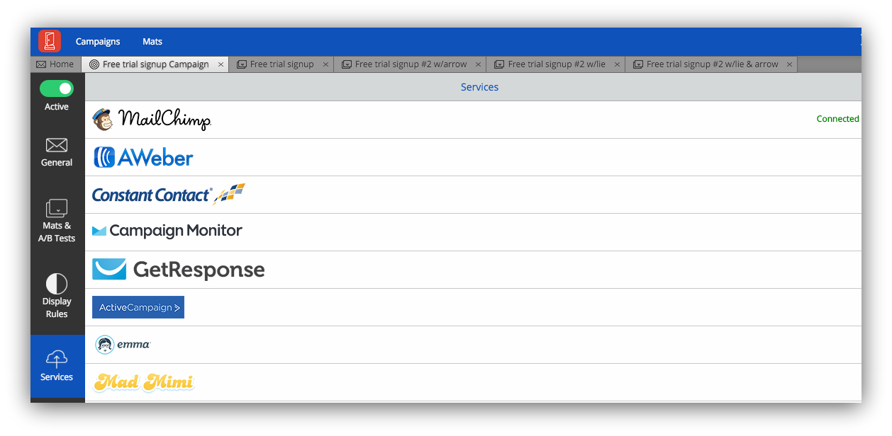 Screenshot of the supported mail providers on the Sumo dashboard