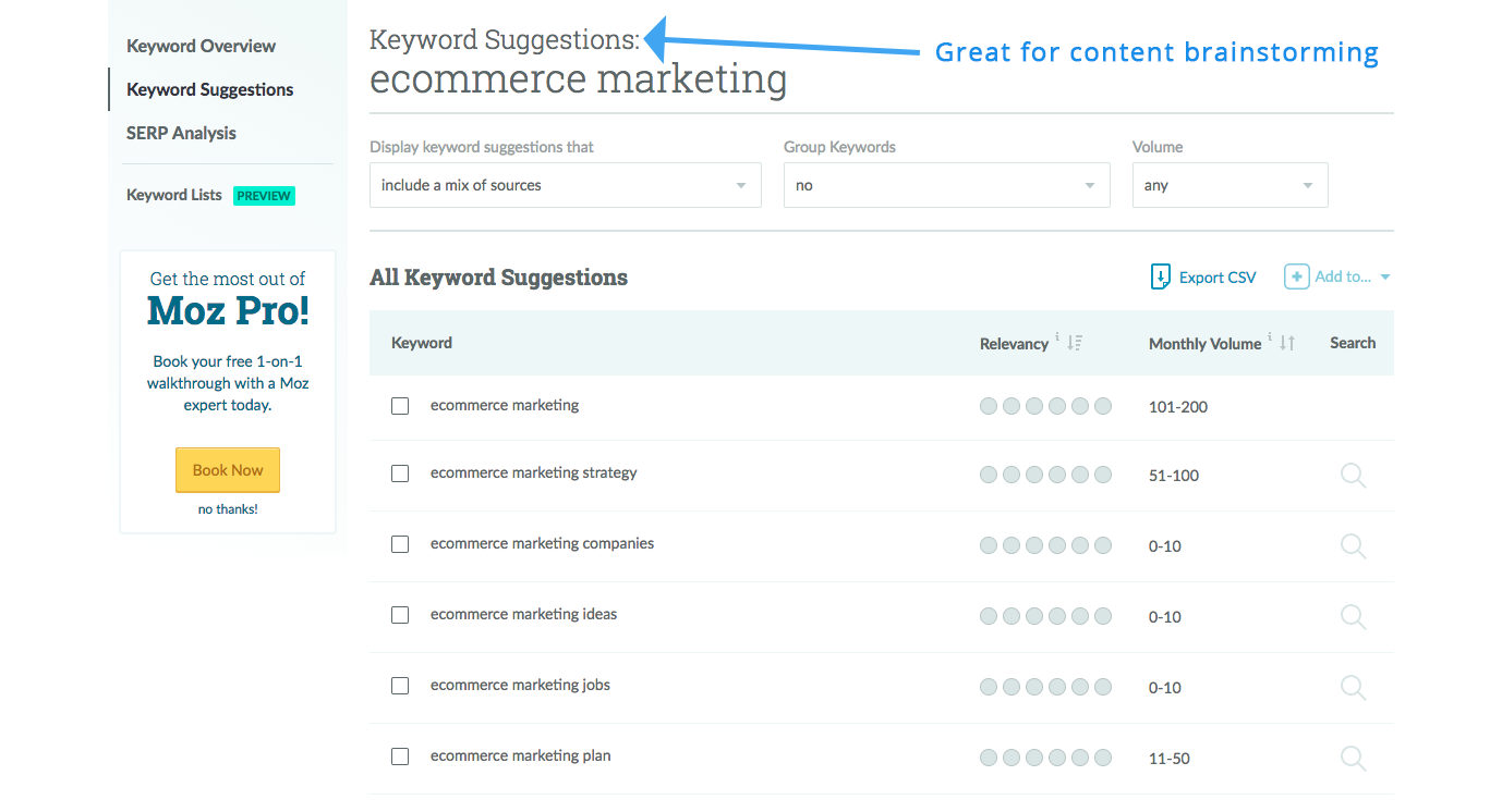 Screenshot showing keyword suggestions